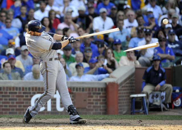CHICAGO, IL - SEPTEMBER 21: Ryan Braun #8 of the Milwaukee Brewers breaks his bat against the Chicago Cubs on September 21, 2011 at Wrigley Field in Chicago, Illinois. The Cubs defeated the Brewers 7-1. (Photo by David Banks/Getty Images)