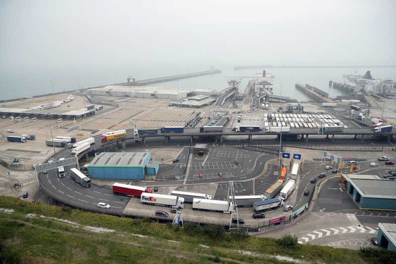 FILE PHOTO: Vehicles in the port of Dover