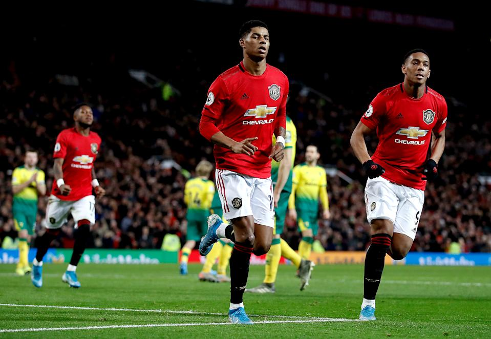 Manchester United's Marcus Rashford celebrates scoring his side's second goal of the game during the Premier League match at Old Trafford, Manchester. (Photo by Martin Rickett/PA Images via Getty Images)