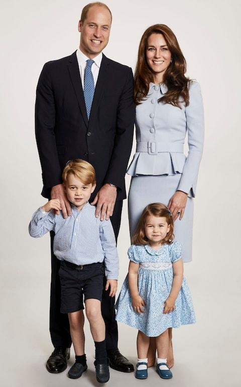 The Duke and Duchess of Cambridge, Prince George and Princess Charlotte in a picture that features on their Christmas card this year - Credit: Chris Jackson/Getty