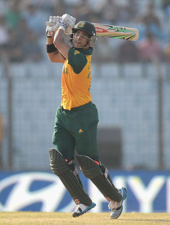 CHITTAGONG, BANGLADESH - MARCH 24:  JP Duminy of South Africa bats during the ICC World Twenty20 Bangladesh 2014 Group 1 match between New Zealand and South Africa at Zahur Ahmed Chowdhury Stadium on March 24, 2014 in Chittagong, Bangladesh.  (Photo by Gareth Copley/Getty Images)