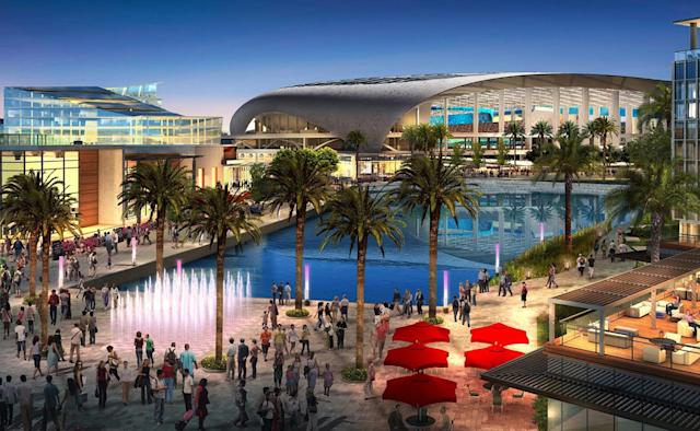 <p>Visitors walk the grounds in this rendering of the 2024 Olympic Games venue in Los Angeles. (Photo: Courtesy LA 2024) </p>