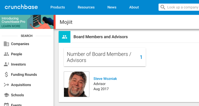Mojiit's Crunchbase page features Steve Wozniak prominently as an advisor. He is not. (Screenshot)