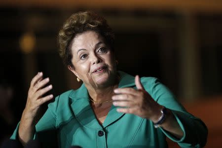 Brazil's President Dilma Rousseff reacts during a news conference in Brasilia