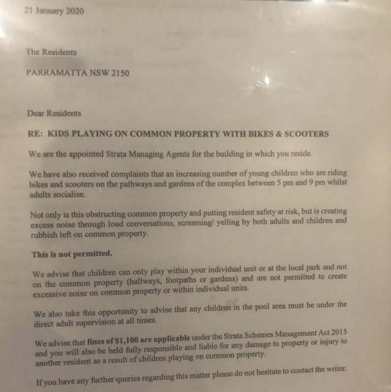 A strata notice threatened to fine residents $1100 for having 'loud' children in common areas and within individual flats. Source: Reddit/normie123456