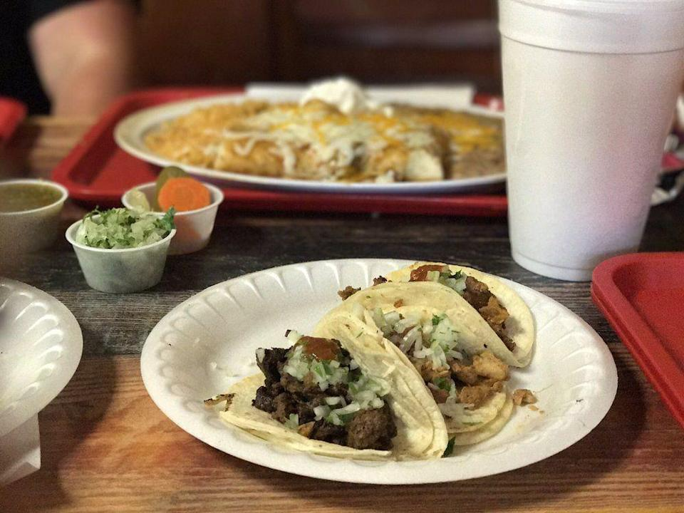 """<p><strong><a href=""""https://www.yelp.com/biz/taqueria-la-herradura-knoxville-2"""" rel=""""nofollow noopener"""" target=""""_blank"""" data-ylk=""""slk:Taqueria La Herradura"""" class=""""link rapid-noclick-resp"""">Taqueria La Herradura</a>, Knoxville</strong></p><p>""""Seriously, we can not get enough of these tacos! Best Al Pastor taco we have found in Knoxville. The burrito is also pretty delicious, however the tacos always take it home. Get a side of the spicy pickled carrots and jalapeños and top it all of with a pineapple water!"""" – Yelp user <a href=""""https://www.yelp.com/user_details?userid=ckD-D5VpplOpNVFUdJkKrA"""" rel=""""nofollow noopener"""" target=""""_blank"""" data-ylk=""""slk:Stephanie W."""" class=""""link rapid-noclick-resp"""">Stephanie W.</a></p><p>Photo: Yelp/<a href=""""https://www.yelp.com/user_details?userid=4C1vzgGK3E5fTMXuaSpL0w"""" rel=""""nofollow noopener"""" target=""""_blank"""" data-ylk=""""slk:Barbara C."""" class=""""link rapid-noclick-resp"""">Barbara C.</a></p>"""