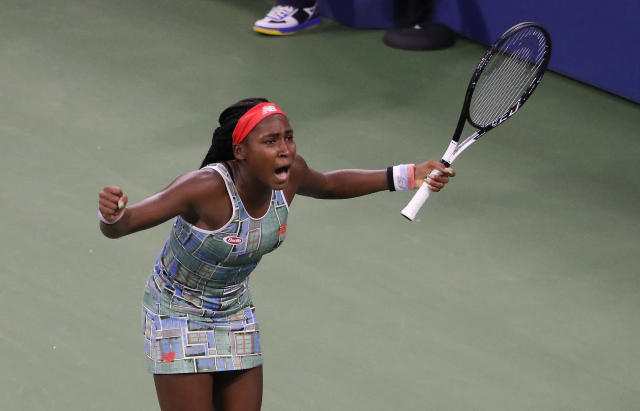 Coco Gauff, of the United States, reacts after defeating Anastasia Potapova, of Russia, during the first round of the US Open tennis tournament Tuesday, Aug. 27, 2019, in New York. (AP Photo/Julie Jacobson)