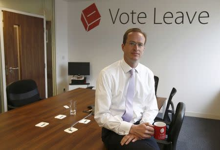 Head of Vote Leave, Matthew Elliott, poses for a photograph at the Vote Leave campaign headquarters in London