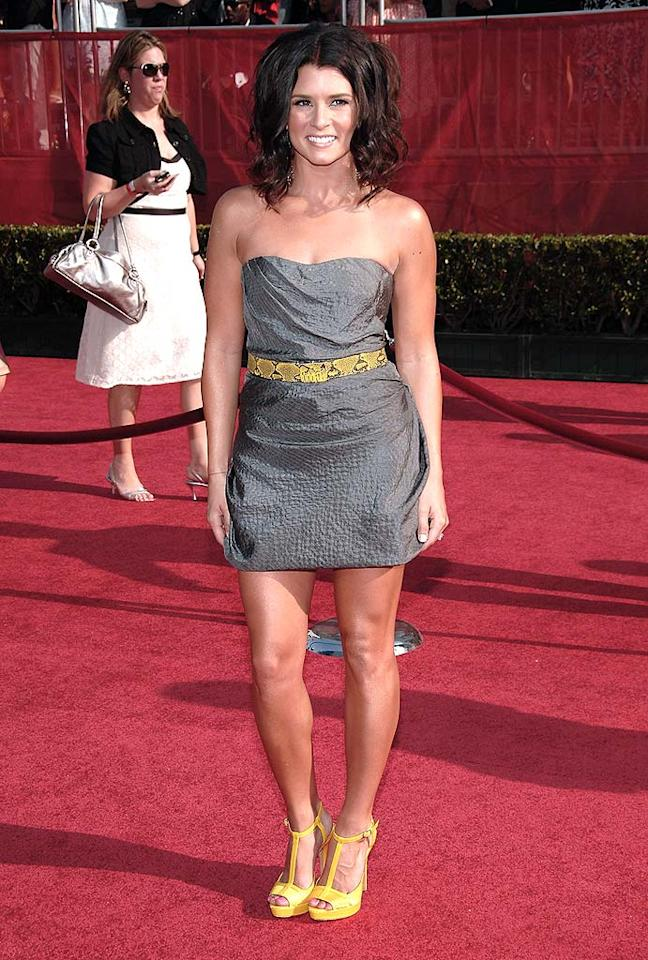 "Danica Patrick's gray mini was super cute, but what's going on with her hair? Did she wear her helmet on the way in? John Shearer/<a href=""http://www.wireimage.com"" target=""new"">WireImage.com</a> - July 16, 2008"