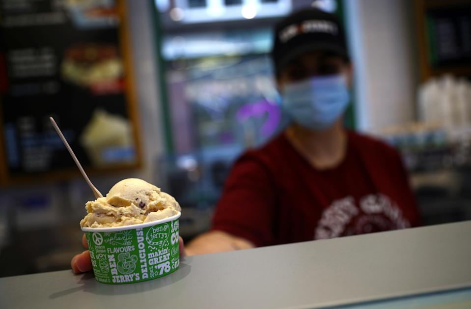 Ice cream sales fell but Unilever was boosted overall as shoppers stocked up their cleaning cupboards (REUTERS)