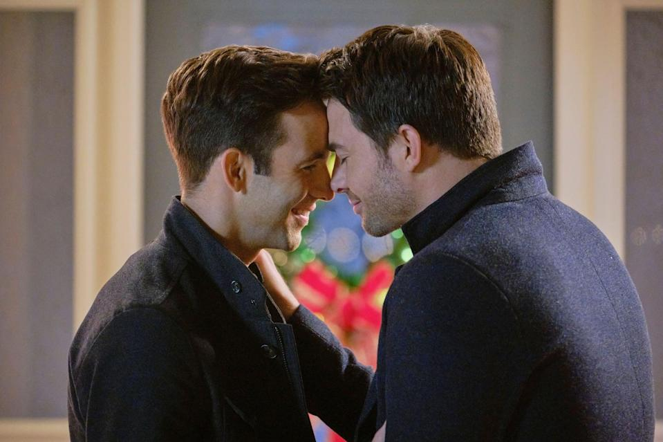 "<p>Hallmark is featuring its first onscreen gay couple in <strong>The Christmas House</strong>. The romance is already there for its <a href=""https://www.popsugar.com/entertainment/jonathan-bennett-the-christmas-house-interview-47974959"" class=""link rapid-noclick-resp"" rel=""nofollow noopener"" target=""_blank"" data-ylk=""slk:leading couple Brandon and Jake (Jonathan Bennett and Brad Harder)"">leading couple Brandon and Jake (Jonathan Bennett and Brad Harder)</a>. The dramedy, for the most part, follows the loving couple as they eagerly await for an adoption call while visiting family.</p> <p><a href=""http://www.hallmarkchannel.com/the-christmas-house"" class=""link rapid-noclick-resp"" rel=""nofollow noopener"" target=""_blank"" data-ylk=""slk:Watch The Christmas House on The Hallmark Channel on Nov. 22."">Watch <strong>The Christmas House </strong>on The Hallmark Channel on Nov. 22.</a> </p>"