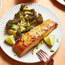 """<p>This easy <a href=""""https://www.delish.com/uk/cooking/recipes/a28996578/best-baked-salmon-recipe/"""" rel=""""nofollow noopener"""" target=""""_blank"""" data-ylk=""""slk:baked salmon"""" class=""""link rapid-noclick-resp"""">baked salmon</a> is glazed a miso sauce and cooked right along with some broccoli for a simple and fast dinner in under an hour. The salty and slightly sweet sauce perks up your salmon and shakes up your dinner routine! </p><p>Get the <a href=""""https://www.delish.com/uk/cooking/recipes/a35761620/miso-glazed-salmon-recipe/"""" rel=""""nofollow noopener"""" target=""""_blank"""" data-ylk=""""slk:Miso Glazed Salmon"""" class=""""link rapid-noclick-resp"""">Miso Glazed Salmon</a> recipe.</p>"""