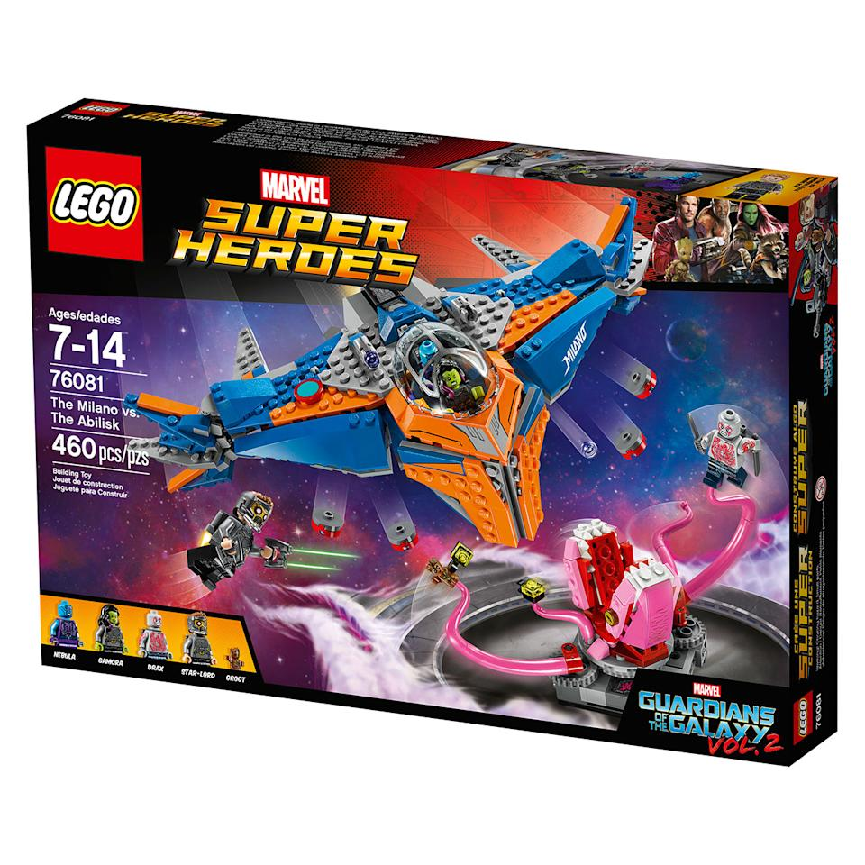 <p>Price: RRP £44.99.<br /> Stockist: Available in all good retailers.<br /> Product Description: Take on the terrifying Abilisk with this Guardians of the Galaxy Vol. 2 LEGO set. The 460 piece set includes the Milano spaceship with two stud shooters and a bomb- drop function, four mini figures, a moving Abilisk and lots more. </p>