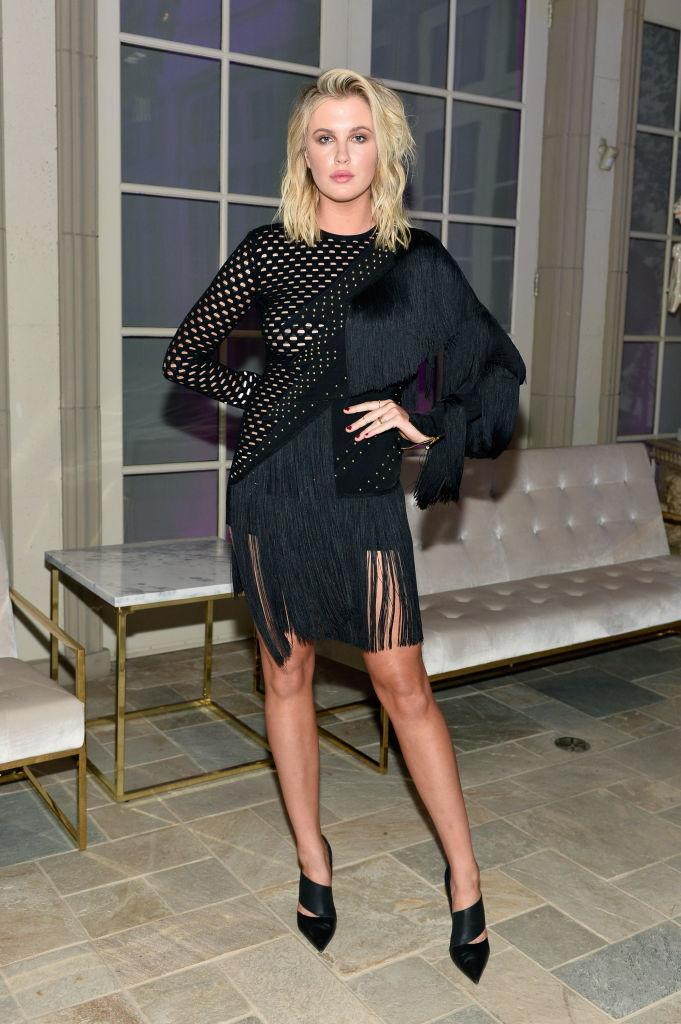 <p>Baldwin put different materials on display in this mutli-faceted dress. (Photo by Stefanie Keenan/Getty Images for BALMAIN) </p>