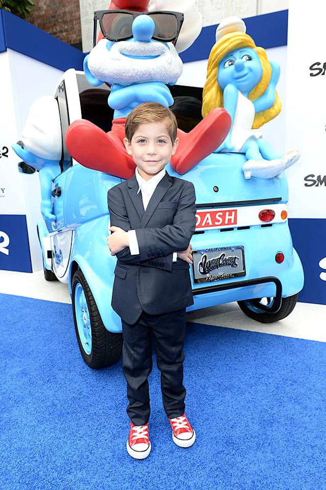 "WESTWOOD, CA - JULY 28:  Actor Jacob Tremblay attends the Los Angeles premiere of ""The Smurfs 2"" at Regency Village Theatre on July 28, 2013 in Westwood, California.  (Photo by Michael Buckner/Getty Images for SONY)"
