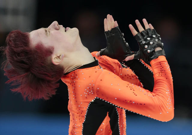Misha Ge of Uzbekistan competes in the men's short program figure skating competition at the Iceberg Skating Palace during the 2014 Winter Olympics, Thursday, Feb. 13, 2014, in Sochi, Russia. (AP Photo/Ivan Sekretarev)
