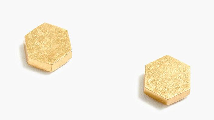 These dainty gold studs have an eclectic geometric twist.