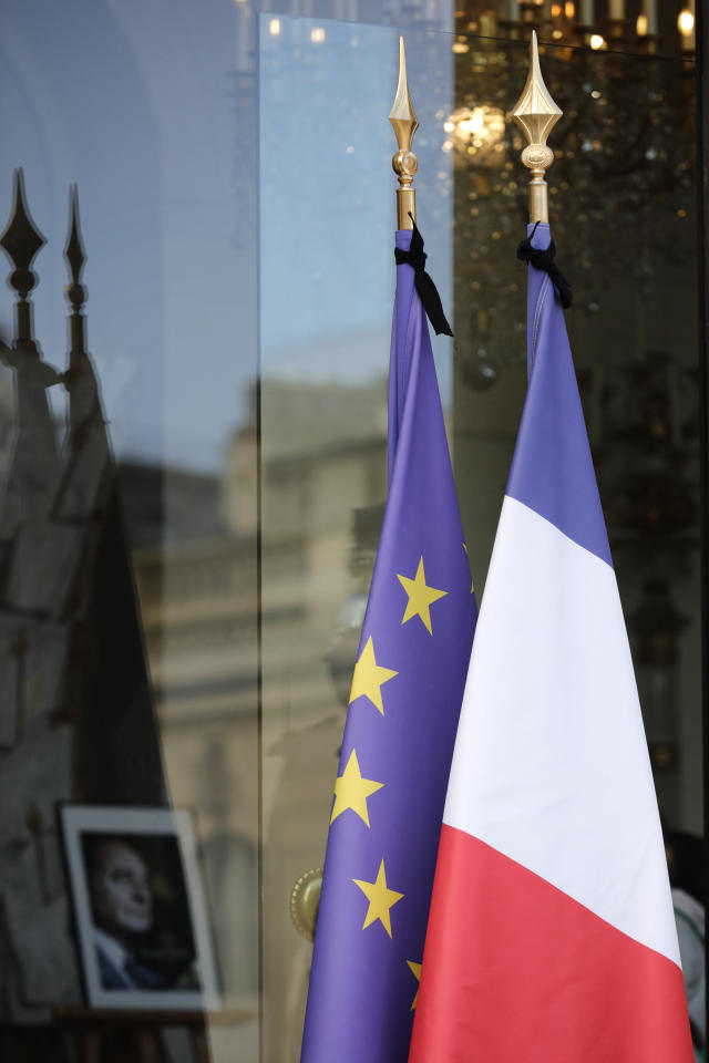 A portrait of former French President Jacques Chirac, Friday Sept. 27, 2019 is seen inside the Elysee Palace in Paris. Jacques Chirac's death on Thursday at age 86 marked a nation feeling sorely in need of a leader with Chirac's staying power. (AP Photo/Kamil Zihnioglu)