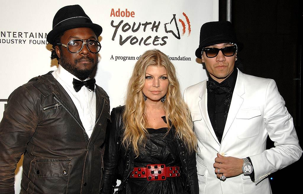 "will.i.am, Fergie, and Taboo arrived at the 5th Annual Black Eyed Peas Peapod Foundation benefit concert Thursday. Sadly, apl.de.ap, the group's fourth member, was not in attendance because his brother was killed in the Philippines on Tuesday. Jean-Paul Aussenard/<a href=""http://www.wireimage.com"" target=""new"">WireImage.com</a> - February 5, 2009"
