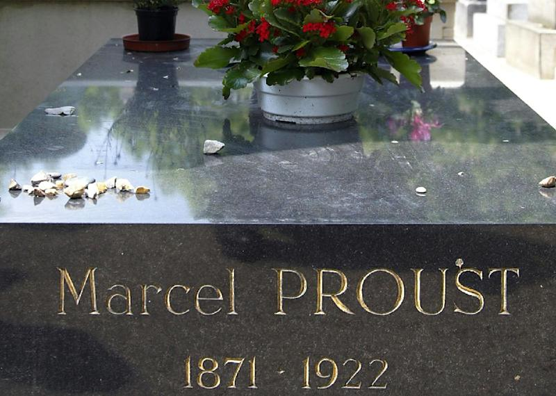 French writer Marcel Proust's gravestone at Pere Lachaise Cemetery in Paris