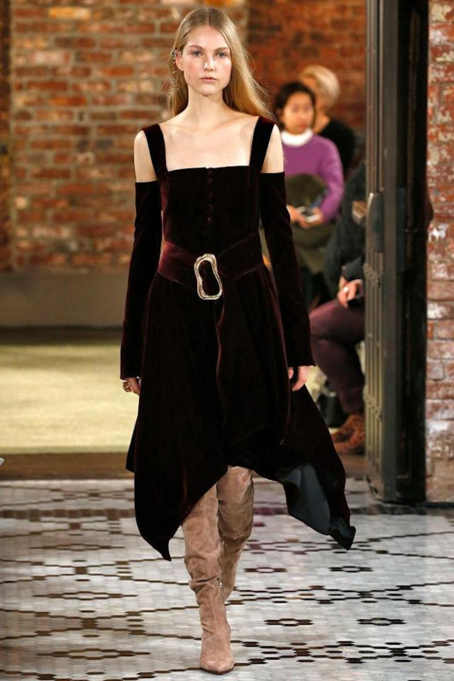 <p>A burgundy, belted dress from the Adeam FW18 show. (Photo: Getty) </p>