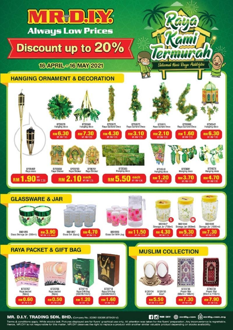 MR.DIY offers up to 40 per cent discount for a variety of Hari Raya essentials.  ― Picture courtesy of MR.DIY