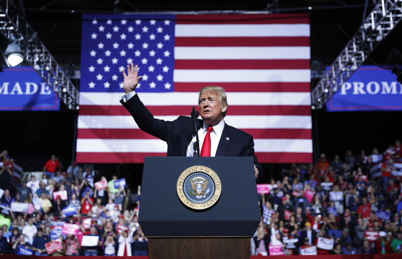President Donald Trump speaks at a campaign rally at WesBanco Arena, Saturday, Sept. 29, 2018, in Wheeling, W.Va. (AP Photo/Pablo Martinez Monsivais)