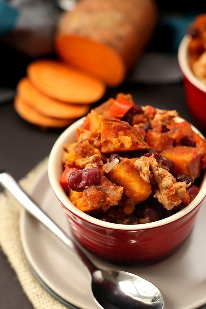"""<p>Few dishes are more quintessentially fall than chili, but take things up a notch with sweet potatoes to perfectly complement the turkey. </p><p><strong>Get the recipe at <a href=""""https://www.thehealthymaven.com/sweet-potato-turkey-chili"""" rel=""""nofollow noopener"""" target=""""_blank"""" data-ylk=""""slk:The Healthy Maven"""" class=""""link rapid-noclick-resp"""">The Healthy Maven</a>.<br></strong></p><p><strong><a class=""""link rapid-noclick-resp"""" href=""""https://www.amazon.com/IMUSA-L300-40317-Stainless-20-Quart-Silver/dp/B0018EAMKA/?tag=syn-yahoo-20&ascsubtag=%5Bartid%7C10050.g.877%5Bsrc%7Cyahoo-us"""" rel=""""nofollow noopener"""" target=""""_blank"""" data-ylk=""""slk:SHOP STOCKPOTS"""">SHOP STOCKPOTS</a></strong> </p>"""