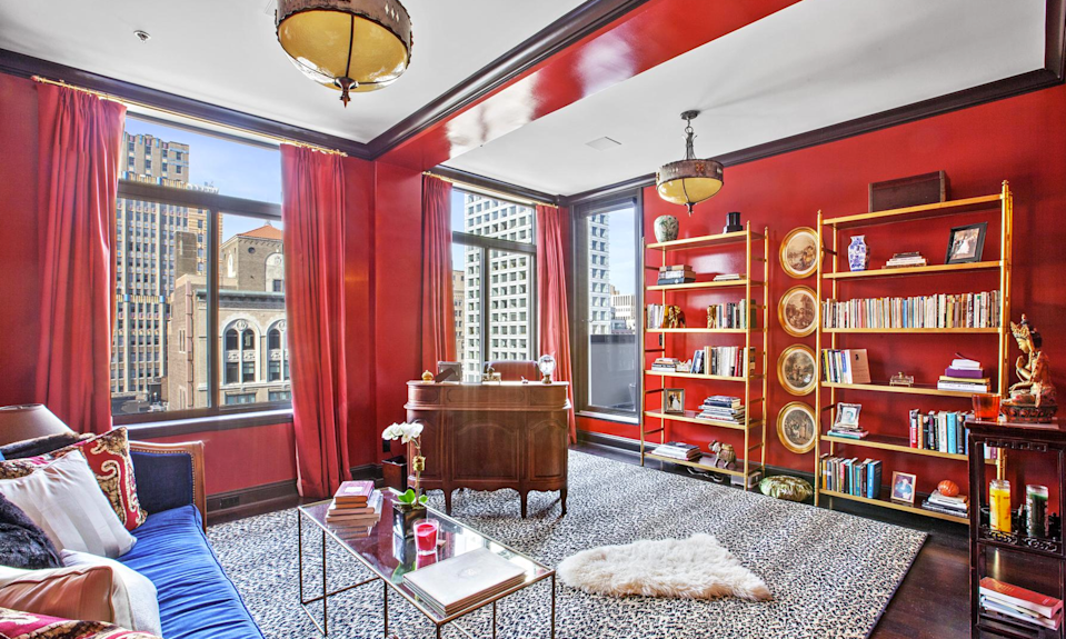<p>In addition to two outdoor terraces, the third floor has a second master bedroom with an ensuite bathroom and balcony, as well as a third bedroom, seen here, that is currently being used as a study. (Douglas Elliman) </p>
