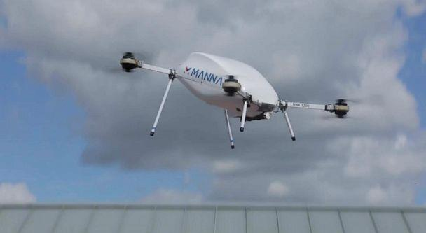 PHOTO: A delivery drone from the Irish company Manna flying during a test program in the town of Oranmore in west Ireland (Patrick Reevell/ABC News)