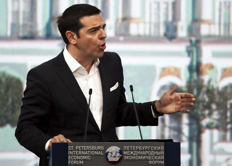 Greek Prime Minister Tsipras speaks during a session of the SPIEF 2015 in St. Petersburg