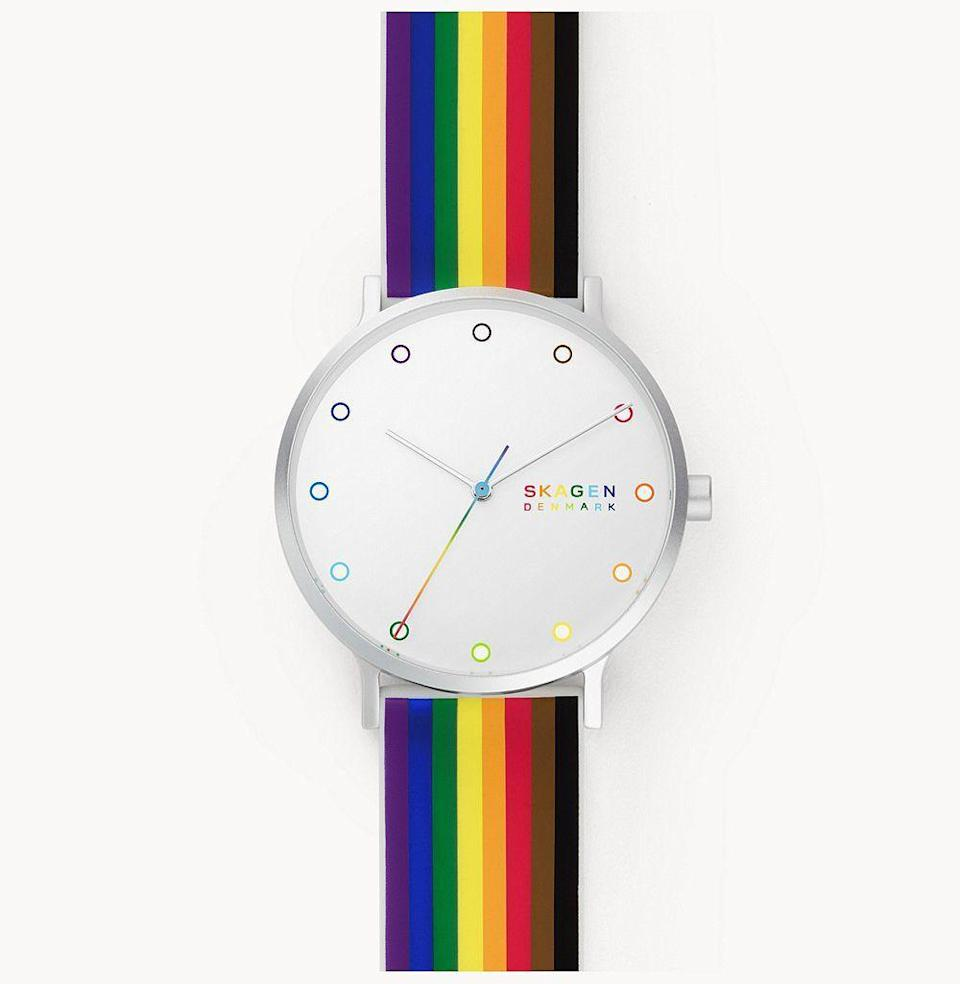 """<p><strong>Skagen</strong></p><p>skagen.com</p><p><strong>$125.00</strong></p><p><a href=""""https://go.redirectingat.com?id=74968X1596630&url=https%3A%2F%2Fwww.skagen.com%2Fen-us%2Fproducts%2Faaren-pride-three-hand-multi-colored-silicone-41mm-watch%2FSKW6659.html&sref=https%3A%2F%2Fwww.esquire.com%2Flifestyle%2Fg36420031%2Fbest-pride-merch-2021%2F"""" rel=""""nofollow noopener"""" target=""""_blank"""" data-ylk=""""slk:Shop"""" class=""""link rapid-noclick-resp"""">Shop</a></p><p>Yes, we've already discussed watches, but Danish watchmaker Skagen is a <em>great</em> place to look for a brand dedicated to doing good. Not only does Denmark boast some of the most impressive LGBTQ stats (first to legalize same-sex partnerships, first successful gender reassignment surgery), but Skagen has committed $25,000 outright to <a href=""""https://www.interpride.org/"""" rel=""""nofollow noopener"""" target=""""_blank"""" data-ylk=""""slk:InterPride"""" class=""""link rapid-noclick-resp"""">InterPride</a>, a global organization dedicated to LGBTQ equality at all intersections.</p>"""