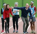 <p>Will playfully blocks Kate's path at the start of a relay race.<br></p>