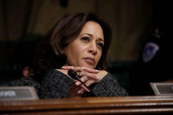 PHOTO: Sen. Kamala Harris listens as Christine Blasey Ford testifies before the Senate Judiciary Committee on Capitol Hill in Washington, Sept. 27, 2018. (Jim Bourg/Pool Photo via AP, FILE)