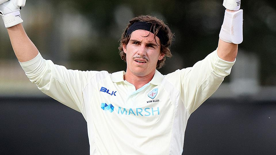 Sean Abbott, pictured here celebrating a century for NSW against Tasmania in the Sheffield Shield.