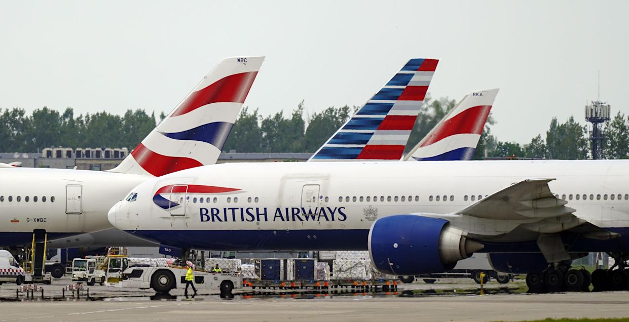 British Airways planes at Heathrow Airport, West London, as thousands of people have departed on international flights after the ban on foreign holidays was lifted for people in Britain.. Picture date: Monday May 17, 2021. (Photo by Steve Parsons/PA Images via Getty Images)