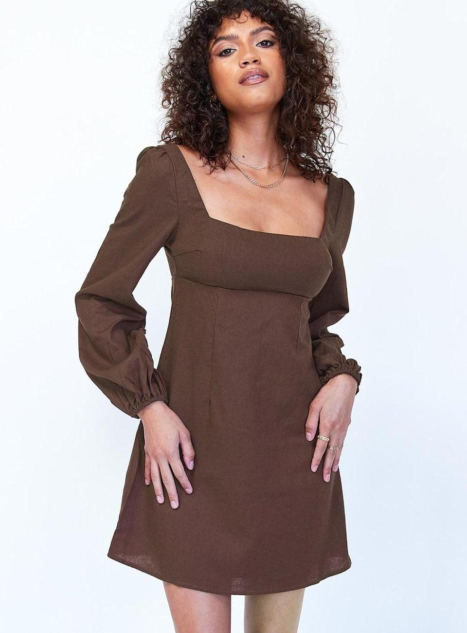 <p>Style this <span>Princess Polly Hastings Long-Sleeve Mini Dress</span> ($58) with chocolate brown tights and boots. It's a winning look.</p>