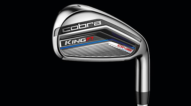 A closer look at one of Cobra's new King F7 Junior One Length irons.