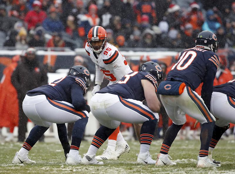 Defensive end Myles Garrett (95) and the Browns will kick off the preseason at the Giants. (AP)