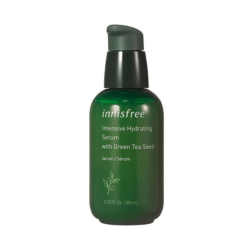 """<p><strong>innisfree</strong></p><p>amazon.com</p><p><a href=""""https://www.amazon.com/dp/B08WZR9KKV?tag=syn-yahoo-20&ascsubtag=%5Bartid%7C10051.g.36688891%5Bsrc%7Cyahoo-us"""" rel=""""nofollow noopener"""" target=""""_blank"""" data-ylk=""""slk:Shop Now"""" class=""""link rapid-noclick-resp"""">Shop Now</a></p><p><del>$27.00</del> $18.90 <strong>(30% off)</strong></p><p>This fan-favorite serum (one is sold every 10 seconds!) packs a serious hydration punch. Thanks to its blend of Jeju Green Tea Extract and Green Tea Seed Oil, both rich in antioxidants, leaving you with all-day hydration behind. </p>"""