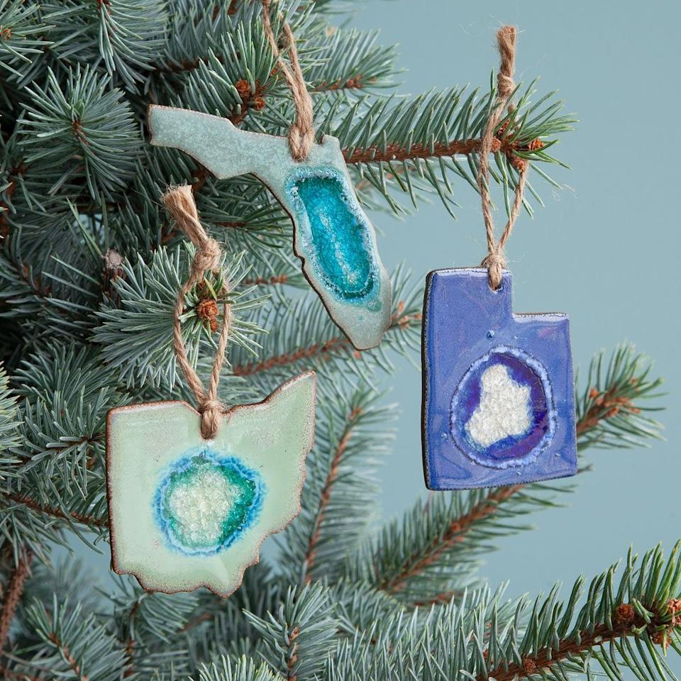 <p>This <span>Geode State Ornament</span> ($18) is such a fun, unique gift.</p>