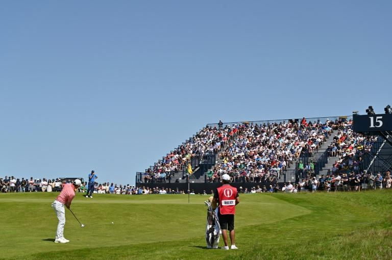 Fans' favourite - McIlroy plays up onto the 15th green in front of a packed stand at Royal St. George's on Saturday