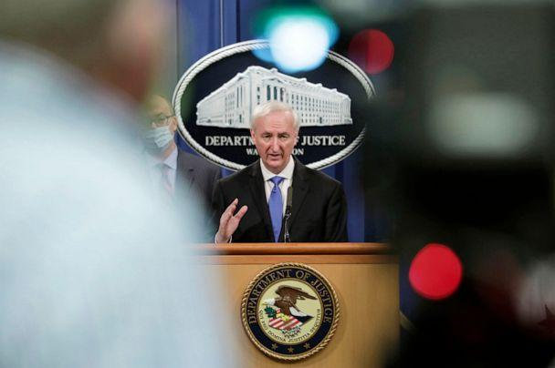 PHOTO: Jeffrey Rosen, deputy attorney general, speaks during a news conference at the Department of Justice in Washington, Oct. 21, 2020. (Bloomberg via Getty Images, FILE)