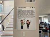 A screenshot of the earnings Dominic Andre and his girlfriend made in the past year from Snapchat hangs in their home