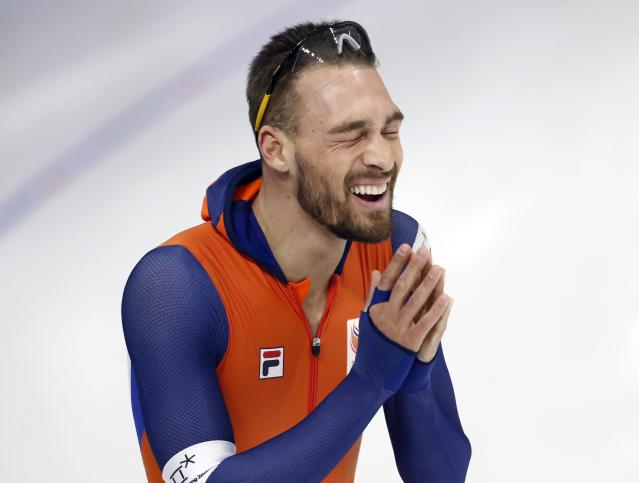 Speed Skating - Pyeongchang 2018 Winter Olympics - Men's 1000m competition finals - Gangneung Oval - Gangneung, South Korea - February 23, 2018 - Kjeld Nuis of the Netherlands reacts after winning a gold medal. REUTERS/Damir Sagolj