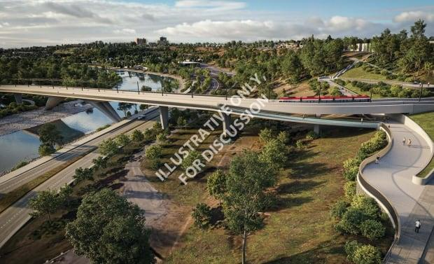 The design of the bridge carrying the Green Line over the Bow River shows that it will not include a support pier in the river.