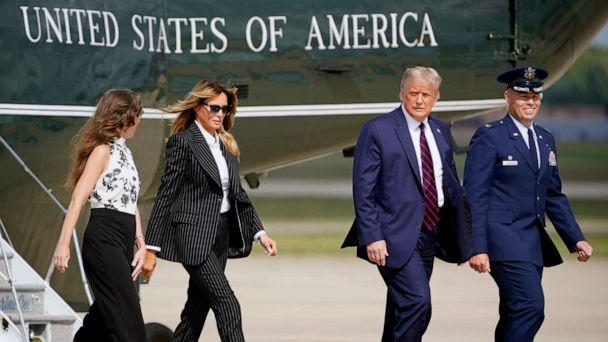 PHOTO: President Donald Trump and first lady Melania Trump walk to board Air Force One to travel to the first presidential debate in Cleveland, Sept. 29, 2020, in Andrews Air Force Base, Md. (J. Scott Applewhite/AP)