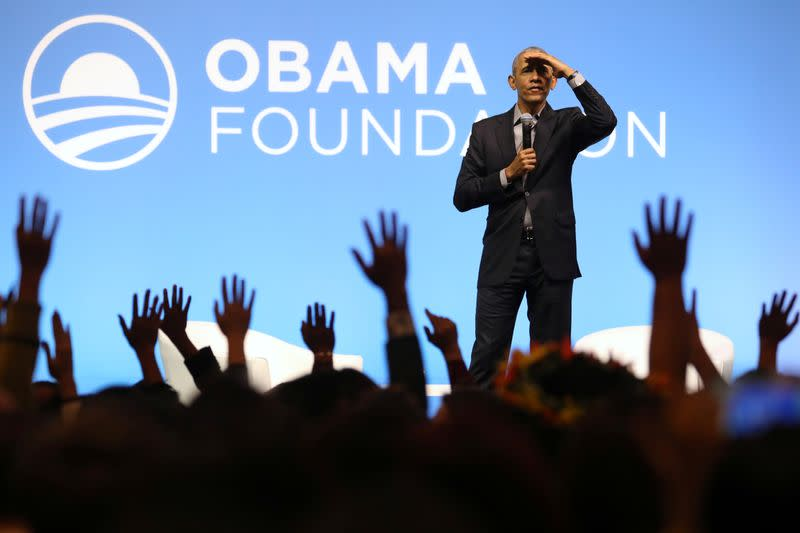 Former U.S. President Obama reacts during an Obama Foundation event in Kuala Lumpur