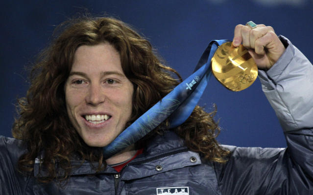 <p>USA's gold medalist Shaun White reacts during the men's halfpipe medal ceremony at the Vancouver 2010 Olympics in Vancouver, British Columbia, Thursday, Feb. 18, 2010. (AP Photo/Jae C. Hong) </p>