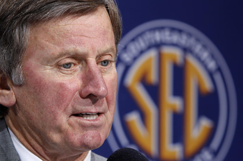 FILE - In this file photo taken Dec. 3, 2010, South Carolina coach Steve Spurrier speaks during a news conference in Atlanta. Spurrier has a plan to pay players, and it wouldn't cost schools or conferences a dime. South Carolina's head ball coach offered an interesting yet far-from-feasible proposal Wednesday, June 1, 2011, that would give 70 players $300 every game for expenses. (AP Photo/John Bazemore, File)